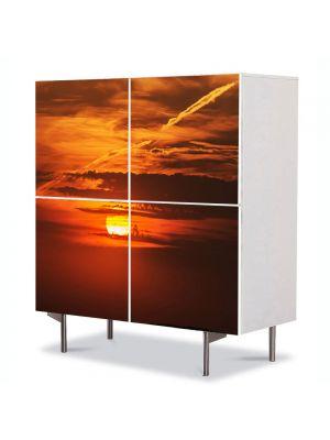 Comoda cu 4 Usi Art Work Peisaje Soare epuizat, 84 x 84 cm