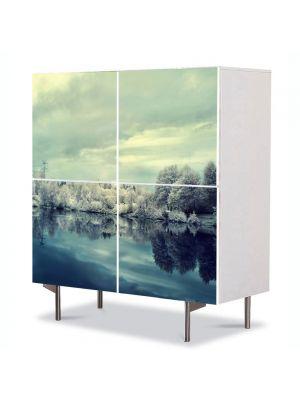 Comoda cu 4 Usi Art Work Peisaje Nuante reci, 84 x 84 cm