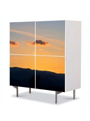 Comoda cu 4 Usi Art Work Peisaje Curse de nori, 84 x 84 cm