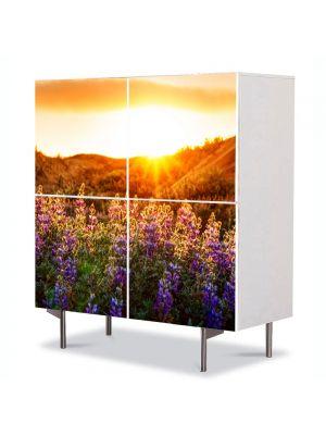 Comoda cu 4 Usi Art Work Peisaje Flori violet la munte, 84 x 84 cm