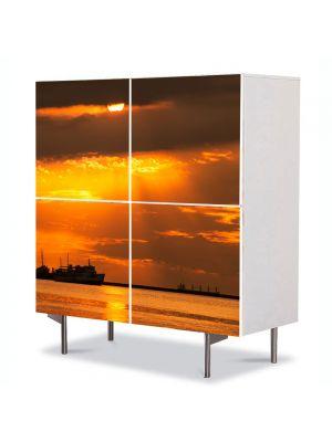 Comoda cu 4 Usi Art Work Peisaje Vapoare, 84 x 84 cm