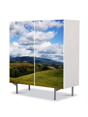 Comoda cu 4 Usi Art Work Peisaje Viata la tara, 84 x 84 cm