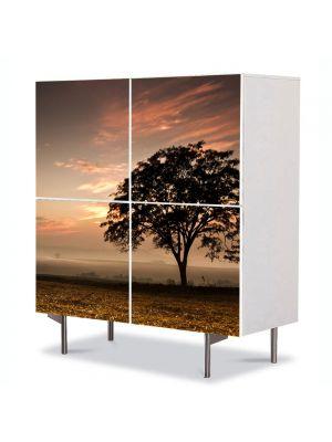 Comoda cu 4 Usi Art Work Peisaje Coroana de copac, 84 x 84 cm