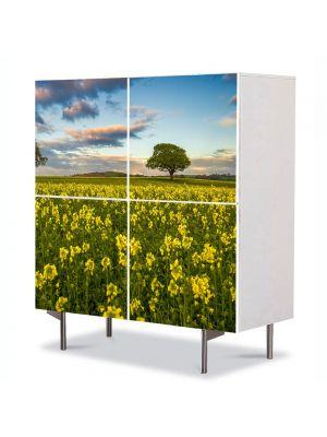 Comoda cu 4 Usi Art Work Peisaje Flori si copaci, 84 x 84 cm