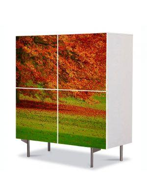 Comoda cu 4 Usi Art Work Peisaje Copac in campie, 84 x 84 cm