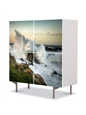 Comoda cu 4 Usi Art Work Peisaje Val izbit de stanca, 84 x 84 cm