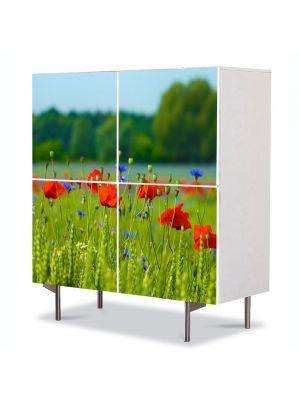 Comoda cu 4 Usi Art Work Peisaje Floricele pe campie, 84 x 84 cm