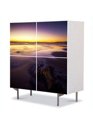 Comoda cu 4 Usi Art Work Peisaje Apus galben, 84 x 84 cm