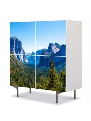 Comoda cu 4 Usi Art Work Peisaje Valea dintre munti, 84 x 84 cm