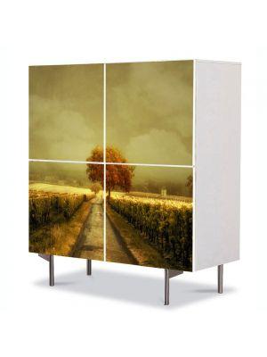 Comoda cu 4 Usi Art Work Peisaje Pictura contemporana, 84 x 84 cm