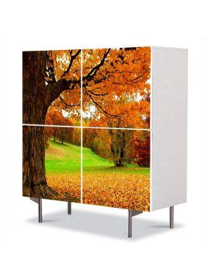 Comoda cu 4 Usi Art Work Peisaje Covor aramiu, 84 x 84 cm