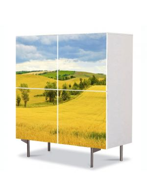 Comoda cu 4 Usi Art Work Peisaje Sirag de copaci, 84 x 84 cm
