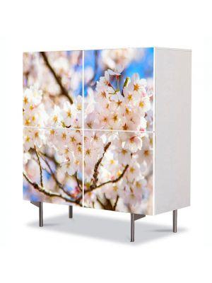 Comoda cu 4 Usi Art Work Peisaje Crengute cu flori, 84 x 84 cm