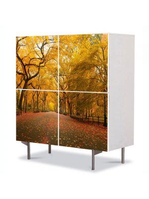 Comoda cu 4 Usi Art Work Peisaje Sosea infrunzita, 84 x 84 cm