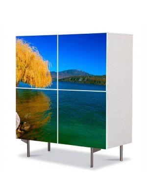Comoda cu 4 Usi Art Work Peisaje Salcie de toamna, 84 x 84 cm