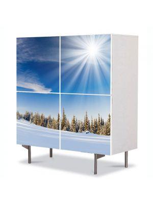 Comoda cu 4 Usi Art Work Peisaje Soare cu dinti, 84 x 84 cm