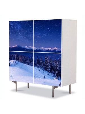 Comoda cu 4 Usi Art Work Peisaje Peste lume, 84 x 84 cm