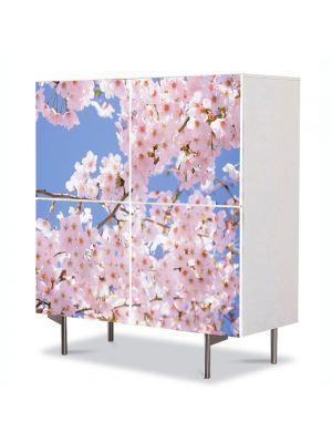 Comoda cu 4 Usi Art Work Peisaje Ramuri inflorite, 84 x 84 cm