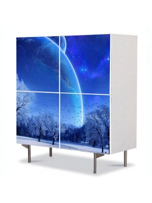 Comoda cu 4 Usi Art Work Peisaje Planete fantastice, 84 x 84 cm