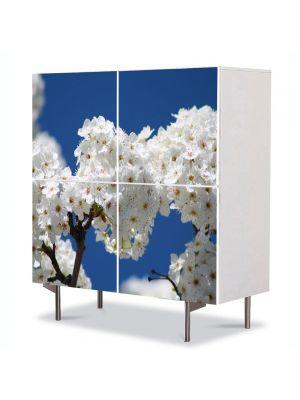Comoda cu 4 Usi Art Work Peisaje Buchete de flori albe, 84 x 84 cm