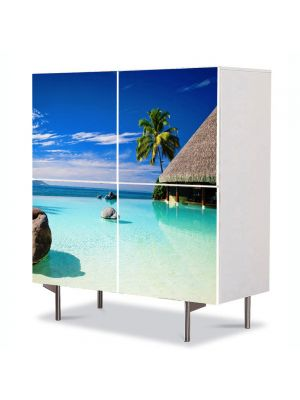 Comoda cu 4 Usi Art Work Peisaje Coliba pe mare, 84 x 84 cm