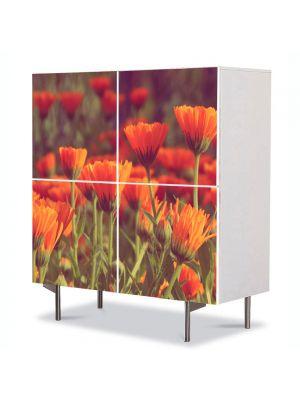 Comoda cu 4 Usi Art Work Peisaje Flori rosii, 84 x 84 cm