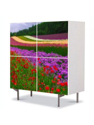 Comoda cu 4 Usi Art Work Peisaje Campii in Olanda, 84 x 84 cm
