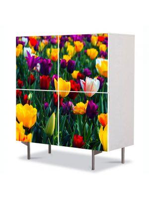Comoda cu 4 Usi Art Work Peisaje Lalele Colorate, 84 x 84 cm
