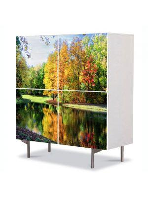 Comoda cu 4 Usi Art Work Peisaje Toamna de pe lac, 84 x 84 cm