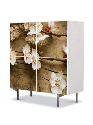 Comoda cu 4 Usi Art Work Peisaje Flori albicioase, 84 x 84 cm