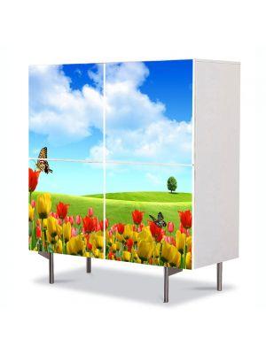 Comoda cu 4 Usi Art Work Peisaje Fluturi, 84 x 84 cm