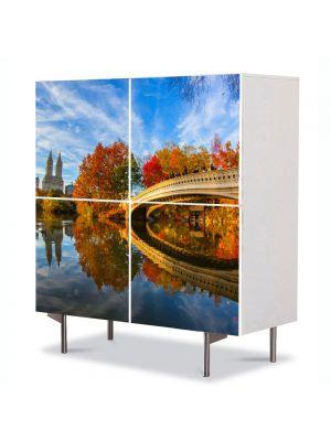 Comoda cu 4 Usi Art Work Peisaje Pod peste toamna, 84 x 84 cm