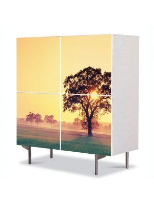 Comoda cu 4 Usi Art Work Peisaje Copac cu soare, 84 x 84 cm