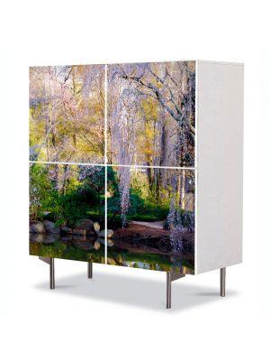 Comoda cu 4 Usi Art Work Peisaje Gradina botanica, 84 x 84 cm