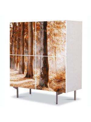 Comoda cu 4 Usi Art Work Peisaje Covor rosu, 84 x 84 cm
