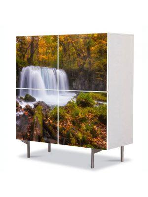 Comoda cu 4 Usi Art Work Peisaje Cascada zgomotoasa, 84 x 84 cm