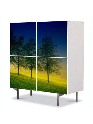 Comoda cu 4 Usi Art Work Peisaje Patru Copaci, 84 x 84 cm