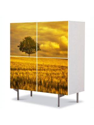 Comoda cu 4 Usi Art Work Peisaje Campie portocalie, 84 x 84 cm