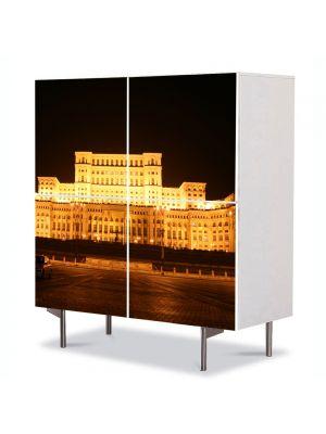 Comoda cu 4 Usi Art Work Urban Orase Palatul Parlamentului Bucuresti, 84 x 84 cm