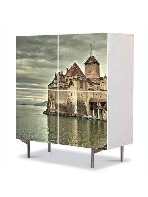 Comoda cu 4 Usi Art Work Urban Orase Castel in Elvetia, 84 x 84 cm