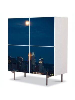 Comoda cu 4 Usi Art Work Urban Orase O noapte in Cincinnati, 84 x 84 cm