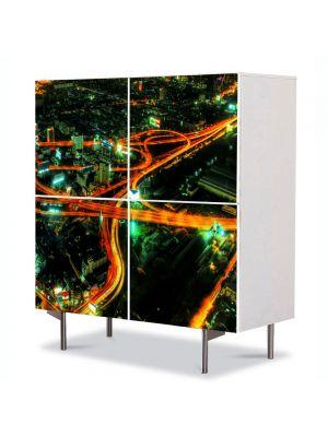 Comoda cu 4 Usi Art Work Urban Orase Sosele in oras, 84 x 84 cm