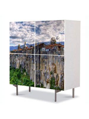 Comoda cu 4 Usi Art Work Urban Orase Orasul in stanca, 84 x 84 cm