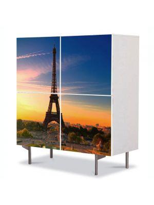 Comoda cu 4 Usi Art Work Urban Orase Turnul Eiffel Paris Franta, 84 x 84 cm