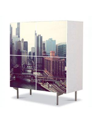 Comoda cu 4 Usi Art Work Urban Orase Perspectiva orasului, 84 x 84 cm