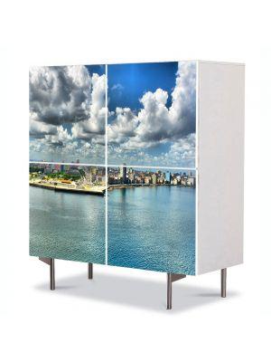 Comoda cu 4 Usi Art Work Urban Orase Panorama peste apa, 84 x 84 cm