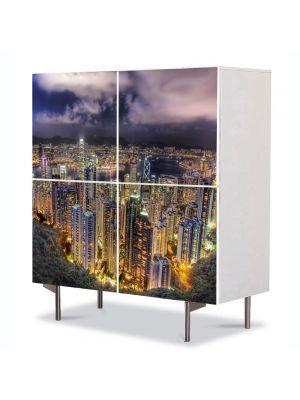 Comoda cu 4 Usi Art Work Urban Orase Varfuri de zgarie nori, 84 x 84 cm