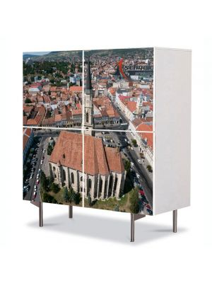 Comoda cu 4 Usi Art Work Urban Orase In Cluj de sus, 84 x 84 cm