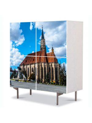 Comoda cu 4 Usi Art Work Urban Orase Catedrala in Cluj, 84 x 84 cm