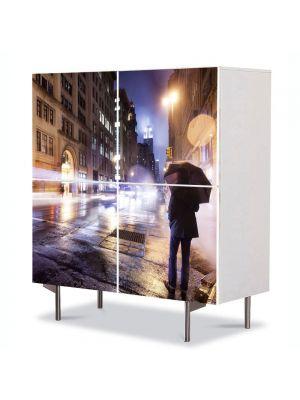 Comoda cu 4 Usi Art Work Urban Orase Noapte rece in New York, 84 x 84 cm